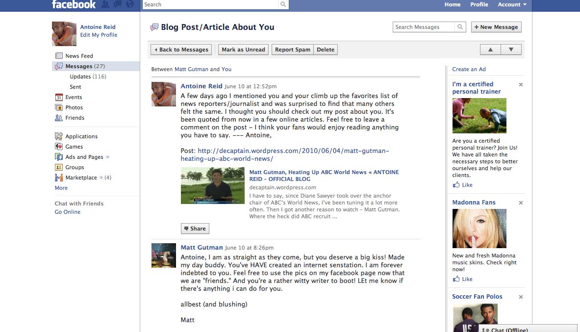 Matt Gutman facebook message to Antoine Reid